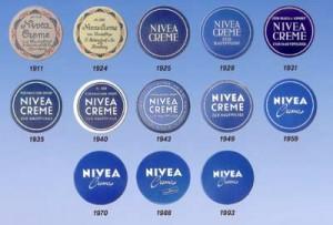 NIVEA : évolution des boîtes et logos